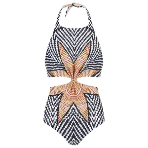 Mara Hoffman Women's Knot Front Cut Out Swimsuit - Starbasket Stone