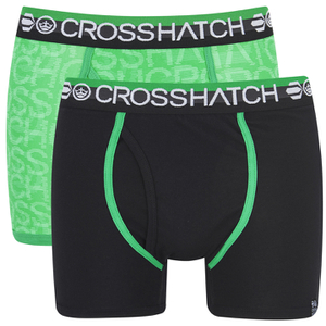 Crosshatch Men's Lightspeed 2-Pack Boxers - Bright Green/Black