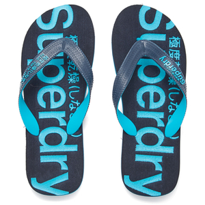 Superdry Men's Flip Flops With Clear Sole - Fluro Blue/Dusk Navy
