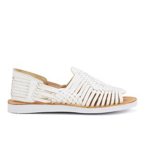 Chamula Women's Chichen Slip-On Leather Sandals - White