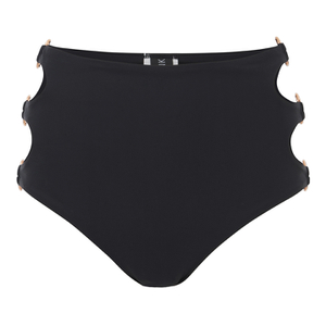 MINKPINK Women's After Dark High Waisted Cheeky Ring Side Bikini Bottoms - Black