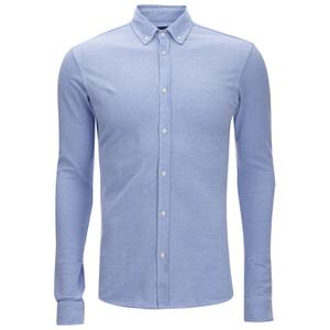 Scotch & Soda Men's Pique Long Sleeved Shirt - Blue