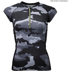 Better Bodies Women's Zipped T-Shirt - Grey Camo