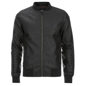 Threadbare Men's Bandit PU Bomber Jacket - Black
