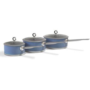 Morphy Richards 973022 3 Piece Saucepan Set - Blue - 16/18/20cm