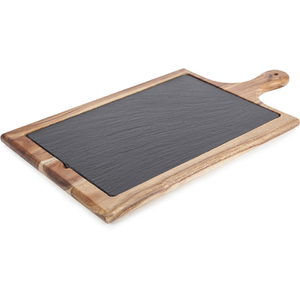 Natural Life NLAS004 Acacia Paddle Board with Slate Plate