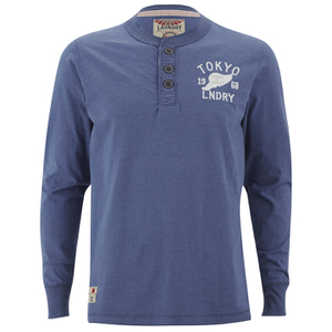 Tokyo Laundry Men's Arturo Button Long Sleeve Top - Cornflower Blue