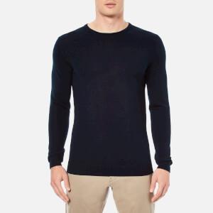 Selected Homme Men's Tower Merino Crew Neck Knitted Jumper - Navy Blazer