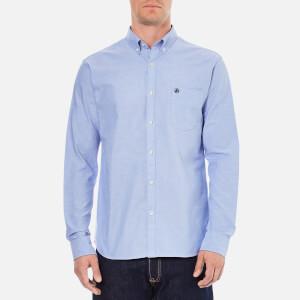 Selected Homme Men's Collect Long Sleeve Cotton Shirt - Light Blue