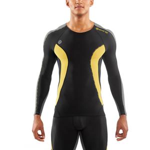 Skins DNAmic Men's Long Sleeve Top - Black/Citron