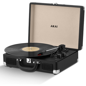 Akai A60011N Rechargeable Turntable and Case - Black