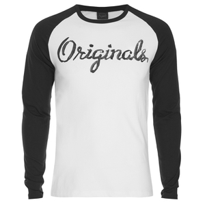 Jack & Jones Men's Originals Stylo Raglan Long Sleeve Top - Cloud Dancer/Black