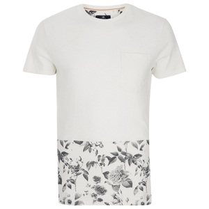 Threadbare Men's Pocket & Floral Hem T-Shirt - White