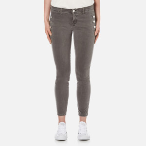 J Brand Women's Zion Mid Rise Skinny Jeans with Button Pockets - Distressed Silver Fox
