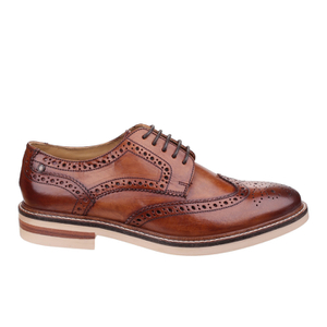 Base London Men's Apsley Brogue Shoes - Camel