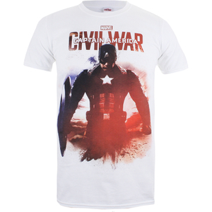 Marvel Herren Captain America Civil War Stance T-Shirt - Weiss