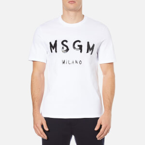 MSGM Men's Logo Short Sleeve T-Shirt - White