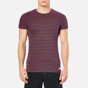 Superdry Men's Lite Loomed Cut Curl Neon Stripe T-Shirt - Rich Indigo Marl