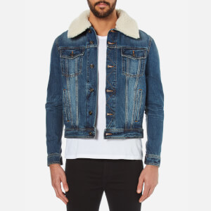 AMI Men's Shearling Collar Denim Jacket - Blue