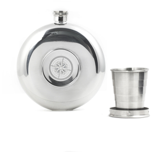 Flask with Collapsible Shot Glass - Silver