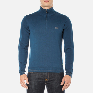 BOSS Green Men's Zime Quarter Zip Jumper - Blue