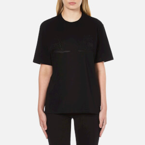 Alexander Wang Women's Boxy Crew Neck T-Shirt with Engineered Embroidery - Jet
