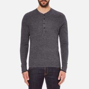 rag & bone Men's Giles Henley Top - Charcoal