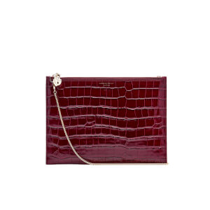 Aspinal of London Women's Soho Croc Pouch - Bordeaux Croc