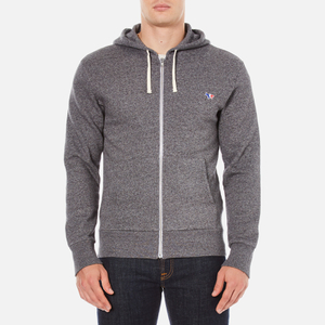 Maison Kitsuné Men's Tricolor Patch Zip Hoody - Black Melange