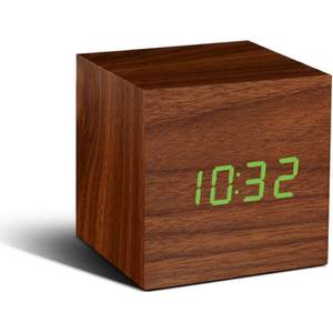 Gingko Cube Walnut Click LED Clock - Green