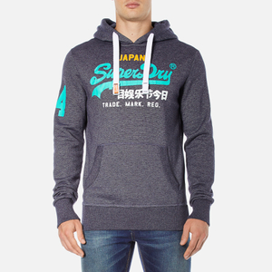 Superdry Men's Vintage Logo New Hoody - Grape Juice Jaspe