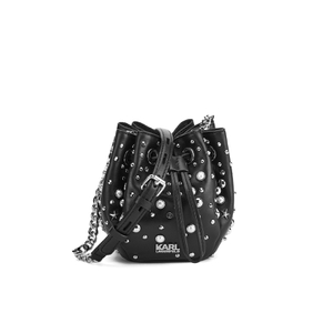 Karl Lagerfeld Women's K/Rocky Studs Drawstring Bag - Black