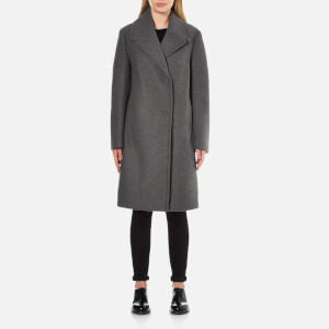 DKNY Women's Long Sleeve Long Bonded Peacoat with Snap Closure - Flint