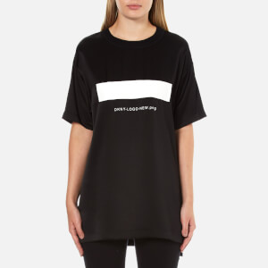 DKNY Women's Short Sleeve Logo T-Shirt with Ribbed Trims - Black
