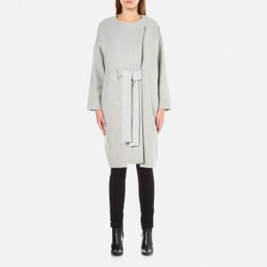 Paisie Women's Cocoon Wrap Coat with Wide Belt - Light Grey