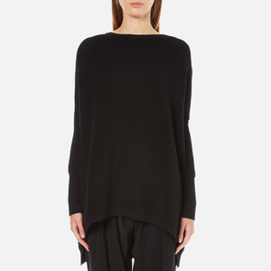 Paisie Women's Ribbed Jumper with Side Splits - Black