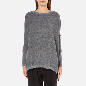 Paisie Women's Ribbed Jumper with Side Splits - Marl Grey