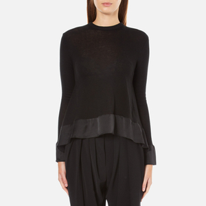 Paisie Women's Silk Panel Top with Back Button - Black