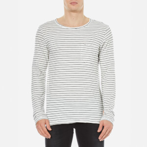 Nudie Jeans Men's Orvar Pocket Long Sleeve T-Shirt - White/Black