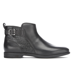 UGG Women's Demi Croc Leather Flat Ankle Boots - Black