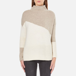 French Connection Women's Patchwork Tonal High Neck Jumper - Classic Cream Multi