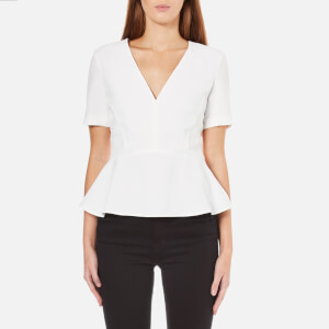 French Connection Women's Arrow Crepe Short Sleeve Top - Winter White