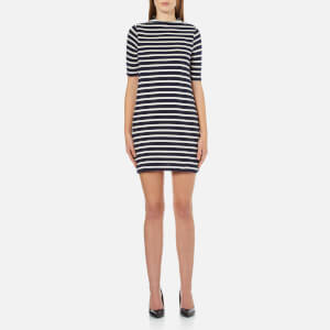 French Connection Women's Terry Stripe High Neck Dress - Cream