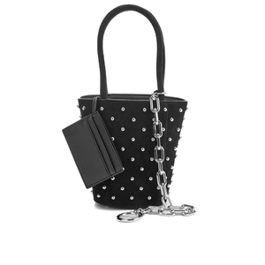 Alexander Wang Women's Roxy Mini Suede Bucket Bag with Studs - Black