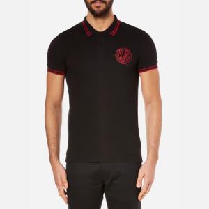 Versace Jeans Men's Chest Logo Short Sleeve Polo Shirt - Nero