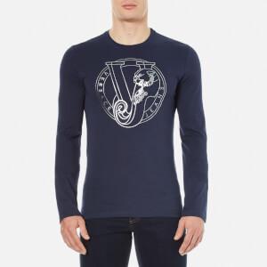 Versace Jeans Men's Printed Crew Neck Long Sleeve Top - Blue