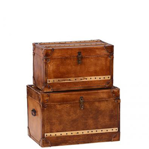 Luxury Leather Storage Trunks (Set of 2)