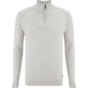 Threadbare Men's Annakin Quarter Zip Funnel Neck Knitted Jumper - Oatmeal Marl