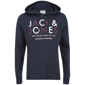 Jack & Jones Men's Core Noah Print Hoody - Navy Blazer