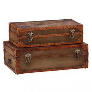 Leather & Canvas Pan Am Trunk (Set of 2)